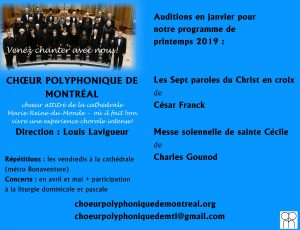 Auditions en janvier 2019